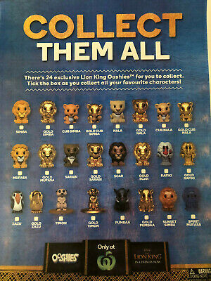 Woolworths Lion King Ooshies - ALL $4.00 -  FREE POSTAGE FOR 4 or MORE ITEMS