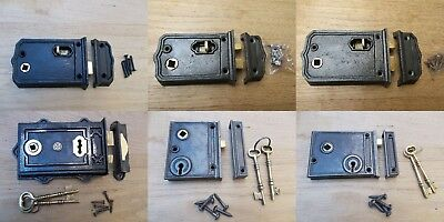 Cast Iron Rustic Rim Door Latch Lock Vintage Old Retro Victorian Style