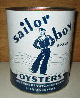 Vintage Sailor Boy Brand Oyster Gallon Tin Can-Packer Md 96