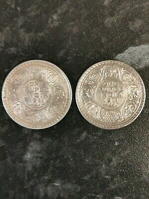 1911 King George V, One Rupee Silver Coin, Bombay Mint, Pig Tail Rare Unc Cond.