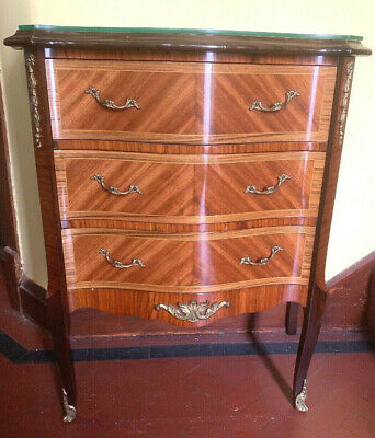 Antique Style French Louis Inlaid Chest with 3 Drawers & Solid Brass Handles