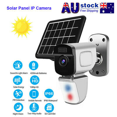 WiFi IP Security Camera 1080P Rechargeable Battery Powered Solar Panel IP66 AU!