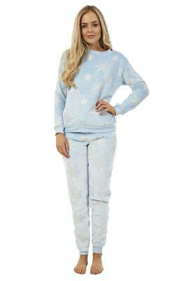 Ladies Stunning Printed Fleece Pyjama Set Snowflake PJ's Winter Warm Nightwear