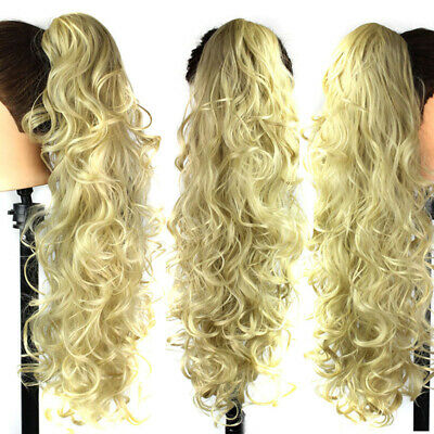 Long Wavy Curly Ponytail Synthetic Hairpiece Jaw Claw on Ponytail Hair Extension