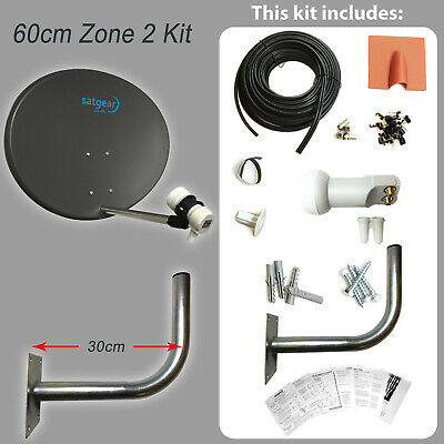 Satgear 60cm Zone 2 Solid Satellite Dish Kit inc 20m Twin Cable and Twin LNB