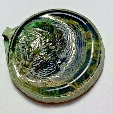 RARE ANCIENT GREEK GLASS SEAL PENDANT SASANIAN KING OF PERSIA 7.3gr 31mm
