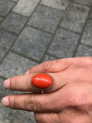 Antique Italian 9kt Gold Coral ring 6 Gram Size 55