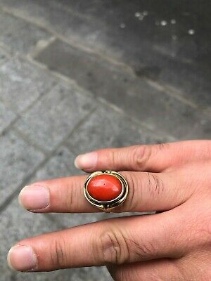 Antique Italian 14kt Gold Coral ring 6.3 Gram Size 55