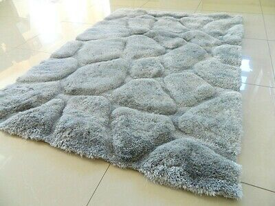 Super Soft Silky Shaggy Thick Heavy Chunky Silver Grey Area Rug Mat Carpet Uk