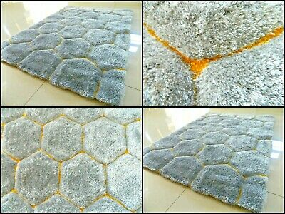Super Soft Silky Shaggy Thick Heavy Chunky Silver Yellow Area Rug Mat Uk Carpets