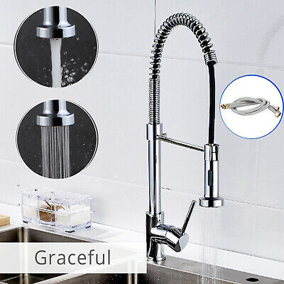 Kitchen Mixer Tap with Pull Out Hose Spray Single Lever Chrome Modern Monobloc
