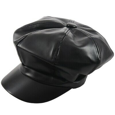 Hat Beret Unisex PU Leather Cap Black Fashion S3B7
