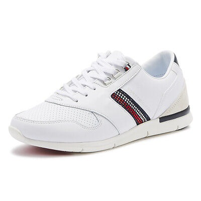 Tommy Hilfiger Lightweight Crystal Womens White Leather Trainers Casual Shoes