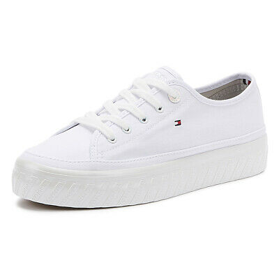 Tommy Hilfiger Flatform Womens White Cotton Trainers Ladies Sport Casual Shoes