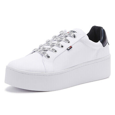 Tommy Jeans Icon Flatform Womens White Cotton Trainers Ladies Sport Casual Shoes
