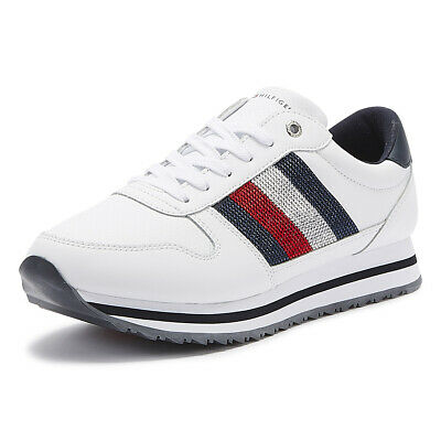 Tommy Hilfiger Retro Crystal Womens White Leather Trainers Ladies Casual Shoes