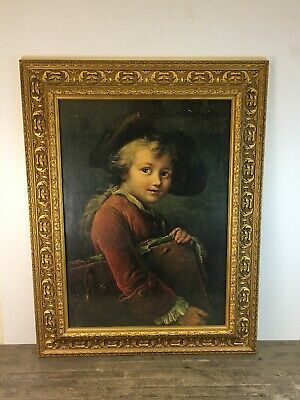 Large Antique Victorian Style Print Of Young Boy In Gold Gilt Wooden Frame.