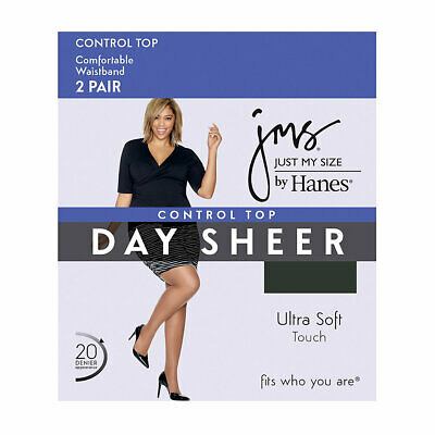 New Women's JMS 2 Pairs  Day Sheer Control Top Reinforced Toe Black Pantyhose 4X