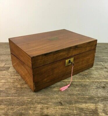 Antique 19th Century Victorian Walnut Veneered Writing Slope With Key & Inkwell.