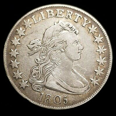 1805 Draped Bust Half Dollar 50c Coin in XF Condition