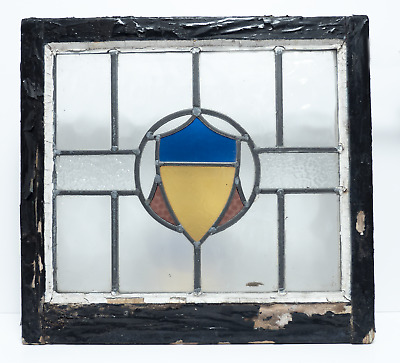 Vintage Leaded Multi Coloured Stained Glass Window Panel Wooden Frame