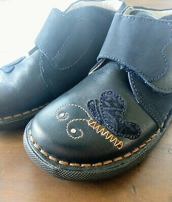 NEW! PRIMIGI Navy Blue Butterfly Leather Shoe Booties Girls 29 US Size 11-11.5