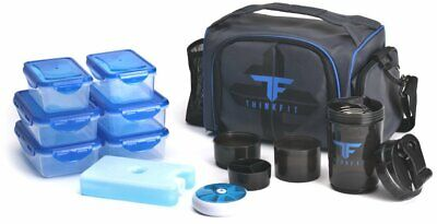 ThinkFit Insulated Meal Prep Lunch Box with 6 Food Portion Control Containers ..