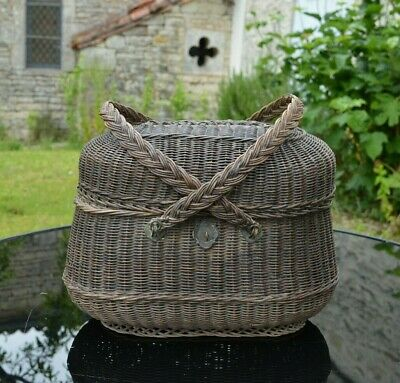 French Antique Wicker Basket late19th Century Lady's Basket by Coste Folcher