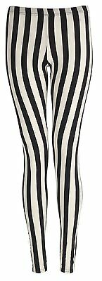 Girls Children Striped Leggings Black And White Stripe Halloween Spooky 7-13 Yrs