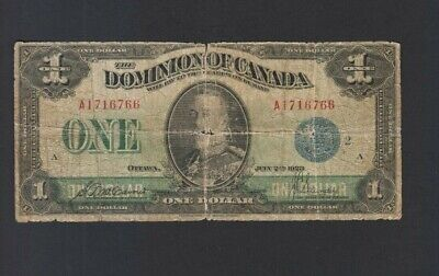1923 $1 One Dollar Dominion of Canada Banknote Blue Seal