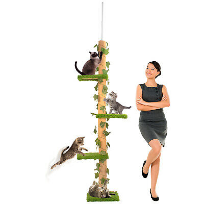 Deluxe Interactive Cat Scratching Sisal Posts Tree Exerciser Scratch Pole Kitty