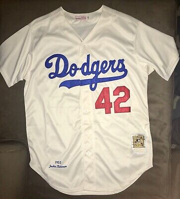 reputable site 76331 2fbb6 JACKIE ROBINSON MITCHELL & Ness 1955 Brooklyn Dodgers Jersey HOF XL 50