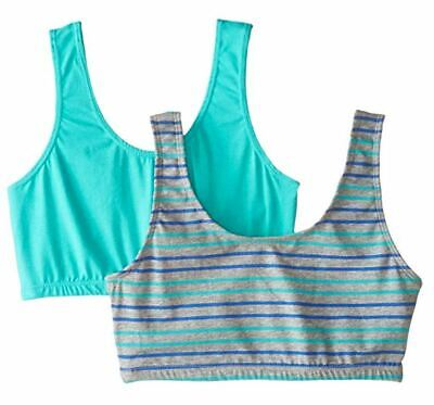 Trimfit Girls' Crop Top with Built Up Straps (Pack of 2), Aqua/Grey, XL
