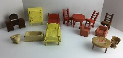 Hand Made Wood Doll House Furniture Lot of 14 Pcs. Vintage Homemade R19J