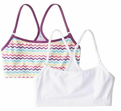 Trimfit Girls' Racerback Crop Top (Pack of 2), White/Purple/Multi/Zigzag, X-Larg