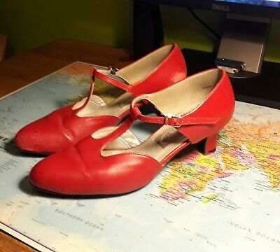 FREED OD LONDON Red Leather Dance Shoes, Ceroc, Latin, Salsa Size 6.5 E / UK 7