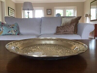 Vintage/Antique Large Persian Hammered Brass Tray with Lion Design