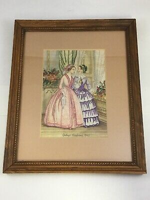 Godey's Fashions 1845 Young Ladies in Dresses Embroidery Art Framed