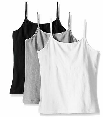 Trimfit Girls' Racerback Crop Top (Pack of 2), White/Black/Grey, X-Larg
