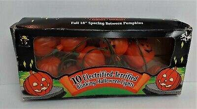 Halloween 10 Electrified Terrified Blinking String Lights 18 Ft Long TESTED #199