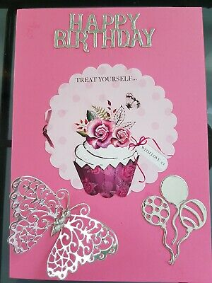 Happy Birthday Handmade Card Mum Daughter Sister Niece Butterfly Balloons