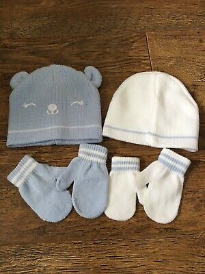 Boys Hat And Mittens 0-6 Months