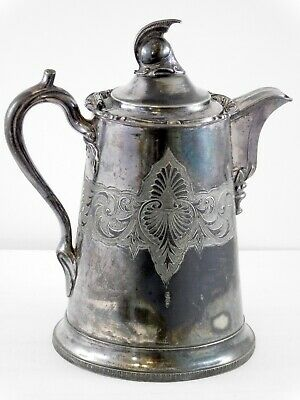 Antique FD Hall Silverplate Tankard Helmet Finial Pitcher 1856 H Filley and Sons