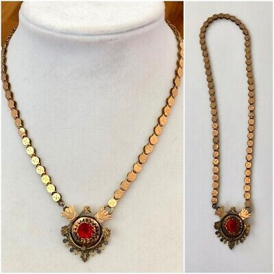 Antique Victorian Bookchain Choker Necklace Red Stone Rose Gold Filled