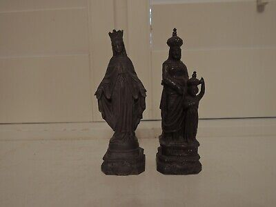 Antique Small Pair of French Brass/Bronze Religious Figurines Mary & Child Jesus