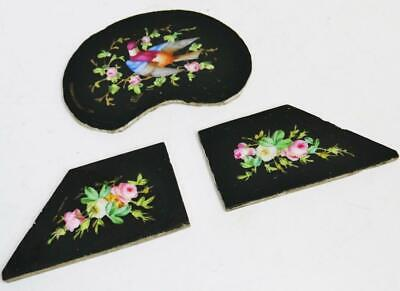 Set Of 3 Antique French Black Sevres Porcelain Mantle Clock Panels- Clock Spares