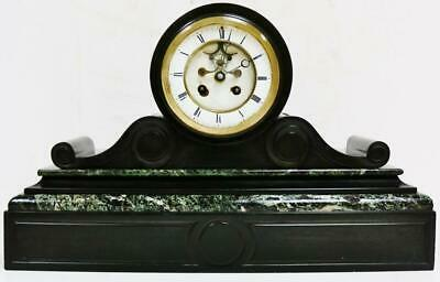 Antique French 8 Day Slate/Marble Bell Striking Mantel Clock Visible Escapement