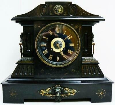 Huge Antique French 8 Day Slate & Bronze Ornate Mount Architectural Mantel Clock
