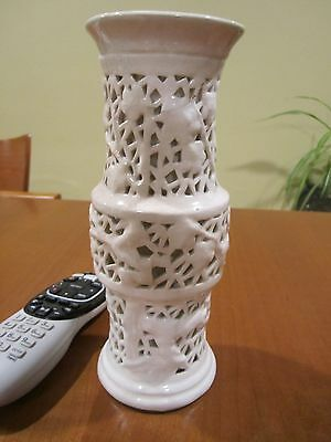 Chinese Dehua White Porcelain Flower VASE glazed double wall Statue C
