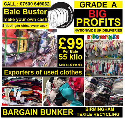 Used grade A summer Mix men & ladies clothes ready for export, 55 kilo bales